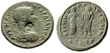"""Ancient Coins - Gordian III AE31 """"Hygeia & Serapis Standing"""" Cilicia, Irenopolis Scarce Countermarked"""