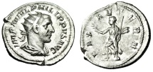 """Ancient Coins - Philip I The Arab Silver Ant. """"PAX AETERN Pax Running"""" Rome RIC 41 Nice EF"""