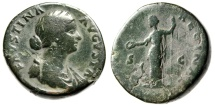 """Ancient Coins - Faustina II Junior AE Sestertius """"IVNONI REGINAE Juno Peacock"""" Nice Green Patina"""