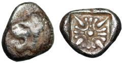 "Ancient Coins - Ionia, Miletos AR Diobol ""Roaring Lion & Ornate Stellate Pattern"" 6th-5th BC"