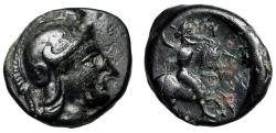 "Ancient Coins - Thessaly, Pharsalus (Pharsalos) AE10 ""Athena & Horseman With Flail"" EF"