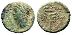 """Ancient Coins - Domitian AE16 of Caesarea Maritima, Judaea """"Portrait & Winged Caduceus"""" gVF"""
