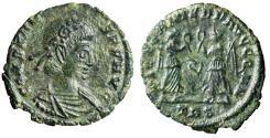 """Ancient Coins - Constans I AE16 """"VICTORIAE DD AVGGQ NN Victories, Leaf"""" Trier RIC 185 gVF"""