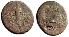 """Ancient Coins - Germanicus Posthumous AE As """"Quadriga & Salute, NCAPR Nero Countermark"""" Rare"""