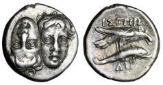 "Ancient Coins - Moesia, Istros AR Drachm ""Heads & Eagle on Dolphin Right"" Rare Variety Good VF"