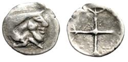 "Ancient Coins - Sicily, Gela AR Obol ""Forepart Man-Headed Bull & Wheel"" 5th Century BC Scarce"