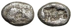 """Ancient Coins - King of Lydia, Kroisos AR 1/16 Stater Confronted Lion & Bull / Incuse"""" Sardes"""