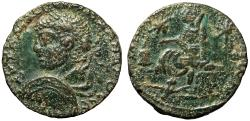 """Ancient Coins - Severus Alexander AE26 of Edessa """"Bust With Large Shield & Tyche Seated"""" aVF"""