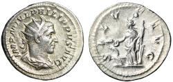 "Ancient Coins - Philip I Silver Antoninianus ""SALVS AVG Salus Feeding Snake at Altar"" 244 AD gVF"