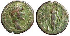 "Ancient Coins - Antoninus Pius AE As ""Annona by Prow"" Rome 140-144 AD RIC 675 Attractive VF"