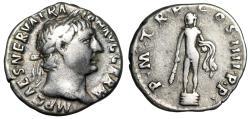 "Ancient Coins - Trajan AR Denarius ""Statue of Hercules on Base"" Rome 101-102 AD Good Fine"