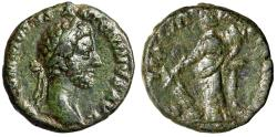 "Ancient Coins - Commodus AE As ""Laureate Portrait & Fortuna Standing"" Rome 183 aVF Green Patina"