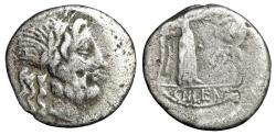 "Ancient Coins - CN Lentulus Clodianus AR Quinarius ""Jupiter Portrait & Victory, Crowning Trophy"""
