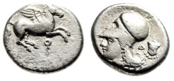 "Ancient Coins - Corinthia, Corinth Silver Stater ""Pegasus Flying & Athena, Cuirass"" VF Scarce"