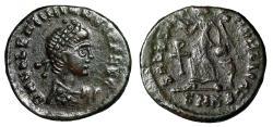 "Ancient Coins - Valentinian II AE13 ""SALVS REIPVBLICAE Victory, Christogram"" Cyzicus RIC 26a VF"