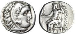 """Ancient Coins - Alexander III The Great AR Drachm """"Herakles & Zeus, Crescent"""" Kolophon"""