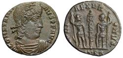 "Ancient Coins - Constantine II AE16 ""GLORIA EXERCITVS Soldiers"" Thessacalonica RIC 55 Scarce gVF"