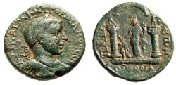 "Ancient Coins - Gordian III AE29 Lycia, Patara & Myra Alliance ""Tyche Temple"" Very Rare gVF"