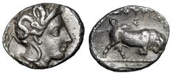 "Ancient Coins - Lucania, Thurium (Thourioi) AR Triobol ""Athena & Bull Butting, Tunny Fish"" gVF"