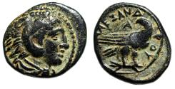 """Ancient Coins - Alexander III The Great AE17 """"Herakles & Eagle on Thunderbolt"""" Attractive gVF"""