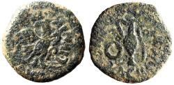 "Ancient Coins - Spain, Carthago Nova AE21 ""Eagle / Implements"" L Iunius & L Acilius Rare"