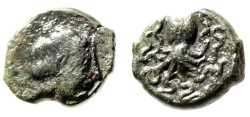 "Ancient Coins - Sicily, Syracuse AE Onkia ""Nymph & Octopus (Cuttle Fish)"" 425-415 BC Good VF"
