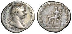 """Ancient Coins - Trajan AR Denarius """"Aequitas Holding Scales"""" Rome RIC 119 Fine"""