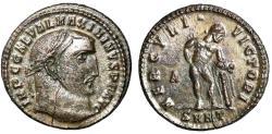 "Ancient Coins - Maximinus II Daia Silvered Follis ""HERCVLI VICTORI Hercules, Club"" Heraclea Rare"