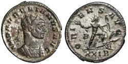 "Ancient Coins - Aurelian Silvered Antoninianus ""ORIENS AVG Sol Wielding Bow, Treading Enemy"" gVF"