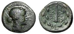 "Ancient Coins - Lydia, Sardes AE15 ""Apollo & Club in Wreath, ME"" Rare Monogram"