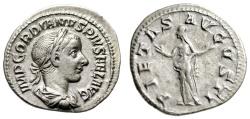 "Ancient Coins - Gordian III AR Denarius ""PIETAS AVGVSTI Pietas, Hands Raised"" Rome RIC 129 VF"