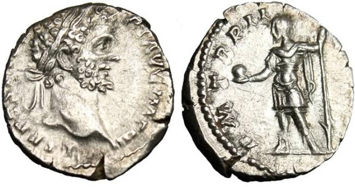 """Ancient Coins - Septimius Severus, AR Denarius """"Emperor in Military Wear"""" VF RIC 50 Rare"""