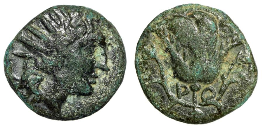 "Ancient Coins - Islands off Caria, Rhodes (Rhodos) AE11 ""Helios & Rose With Bud"" gVF"