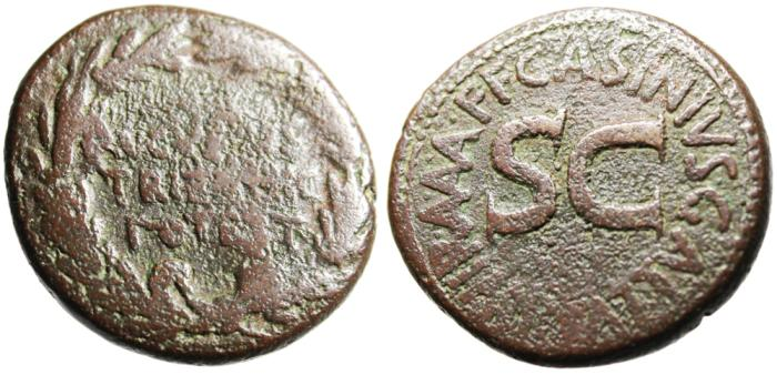 "Ancient Coins - Augustus AE As ""AVGVSTVS TRIBVNIC POTEST in Wreath / SC"" Asinius RIC 372 Scarce"