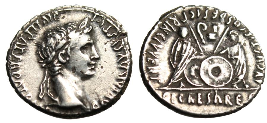 "Ancient Coins - Augustus Silver Denarius ""Caius & Lucius With Shields"" RIC 210 Lyons gVF"