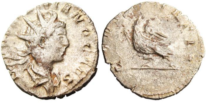 "Ancient Coins - Divus Valerian II Silver Antoninianus ""CONSECRATIO Eagle"" Rome RIC 8"