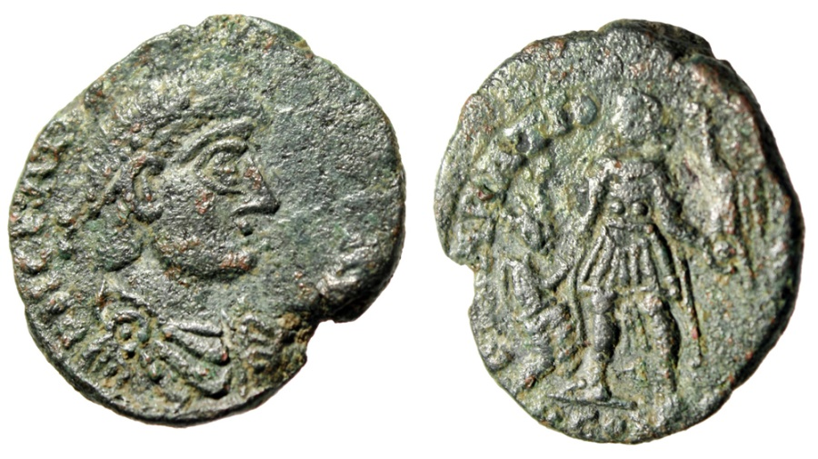 "Ancient Coins - Contemporary Imitation (Barbarous) Magnus Maximus AE2 ""Kneeling by Emperor"""