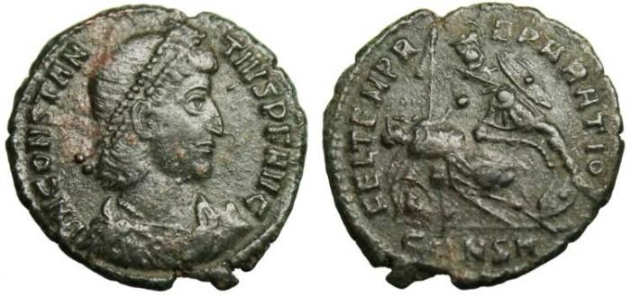 Ancient Coins - Constantius II FEL TEMP REPARATIO Spearing Horseman Constantinople VF