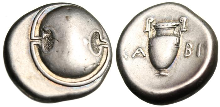 "Ancient Coins - Boeotia, Thebes Silver AR Stater ""Boeotian Shield & Amphora"" Attractive VF"