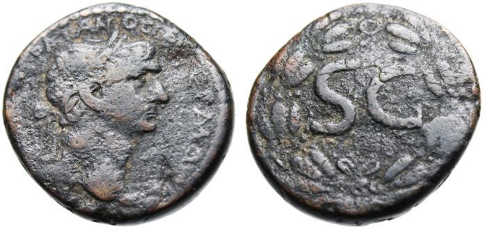 "Ancient Coins - Trajan AE27 ""Large SC (Senatus Consulto) in Wreath"" Syria Antioch"