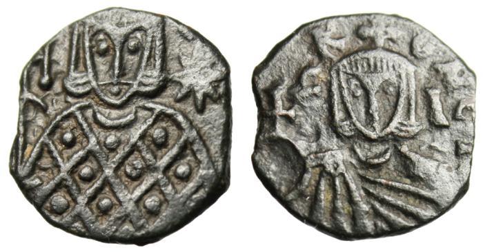 """Ancient Coins - Leo V The Armenian AE Follis """"Facing Bust & Constantine Bust"""" Syracuse EF"""