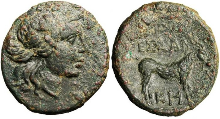 "Ancient Coins - Macedonia, Thessalonika AE 20 ""Dionysus & Goat"" EF"