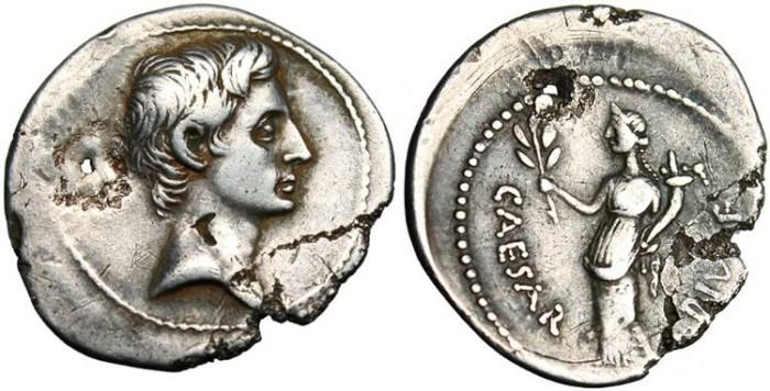 "Ancient Coins - Octavian, AR Denarius ""CAESAR DIVI F Pax"" 32-31 BC RIC 252 Scarce"