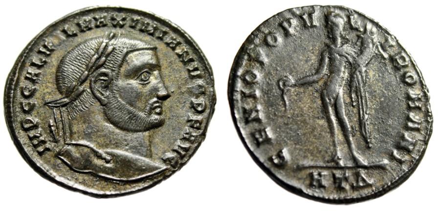 """Ancient Coins - Galerius as Augustus AE Follis """"GENIO POPVLI ROMANI Genius"""" Excellent Portrait"""