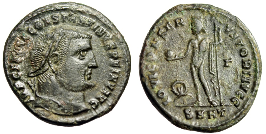 """Ancient Coins - Constantine I The Great """"Jupiter, Wreath"""" Heraclea RIC 72 var Rare Officina"""