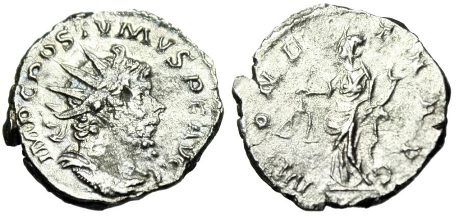 "Ancient Coins - Postumus Silver Antoninianus ""Moneta With Scales, Deity Money"" Cologne RIC 75"
