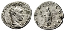 "Ancient Coins - Volusian Silver AR Antoninianus ""Date, Emperor Holding Branch"" Rome 253 AD VF"