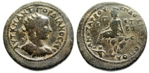 """Ancient Coins - Gordian III AE Hexassarion """"Tyche Seated, Pyramus Swimming"""" Cilicia Anazarbus"""