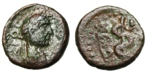 "Ancient Coins - Hadrian AE14 ""Serpent Entwined Staff of Asklepios"" Caria Cos Extremely Rare"