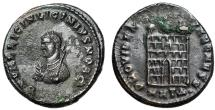 """Ancient Coins - Licinius II """"Small Consular Bust Left & Campgate"""" Heraclea RIC 25 Rare nEF"""
